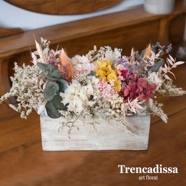 Cajas de madera con flores secas y preservadas, venta online