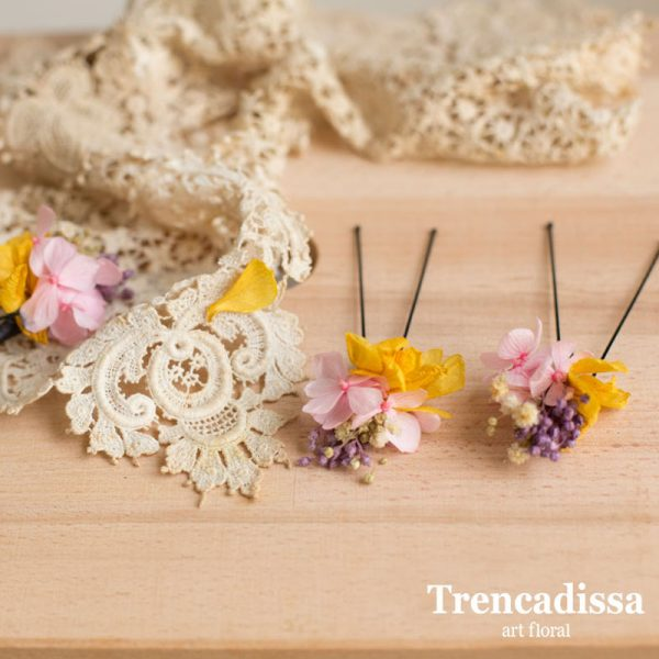 Pinzas florales preservadas para el pelo