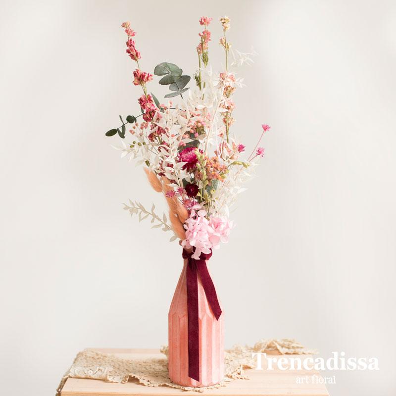 Jarrón de vidrio con flor seca y preservada, venta online