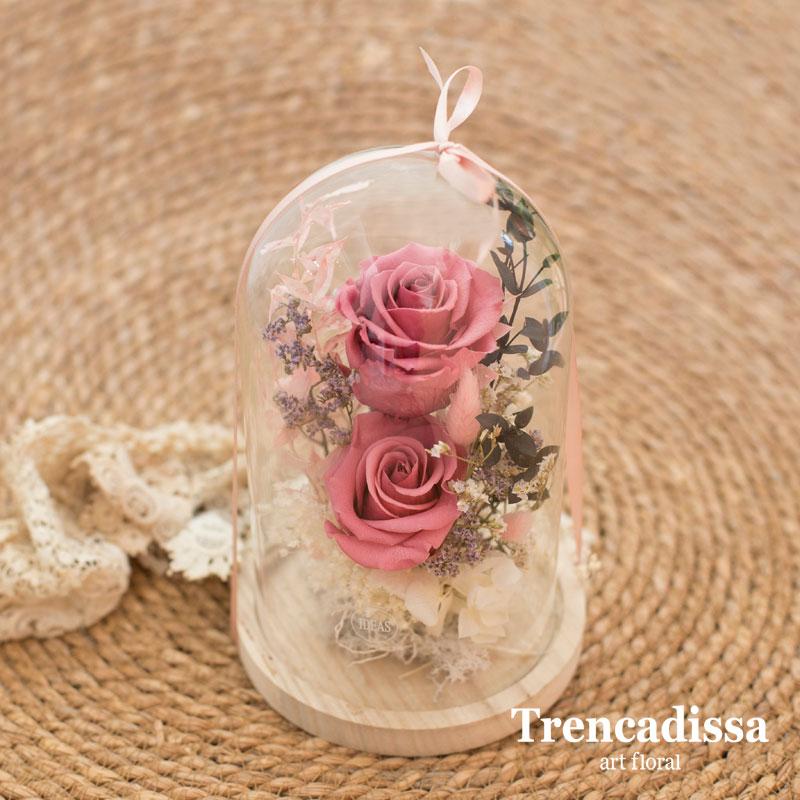 Cúpula de vidrio con rosas preservada