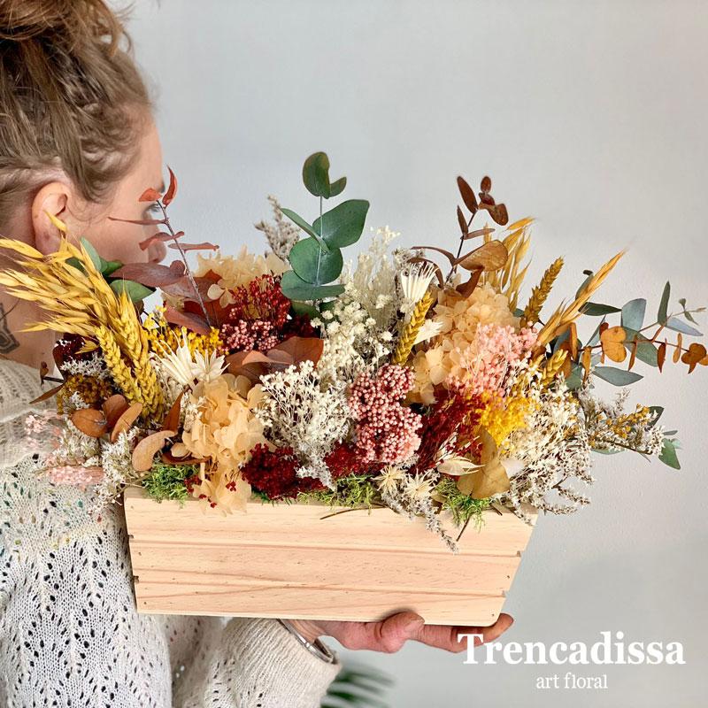 Caja de madera con flores secas y preservadas, venta online desde Barcelona
