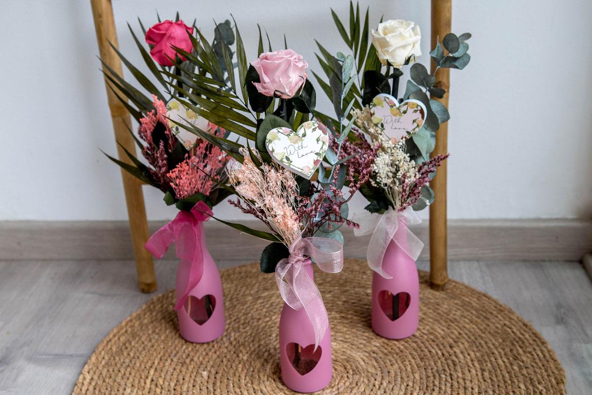 Rosas preservadas en jarrones San Valentín, venta online