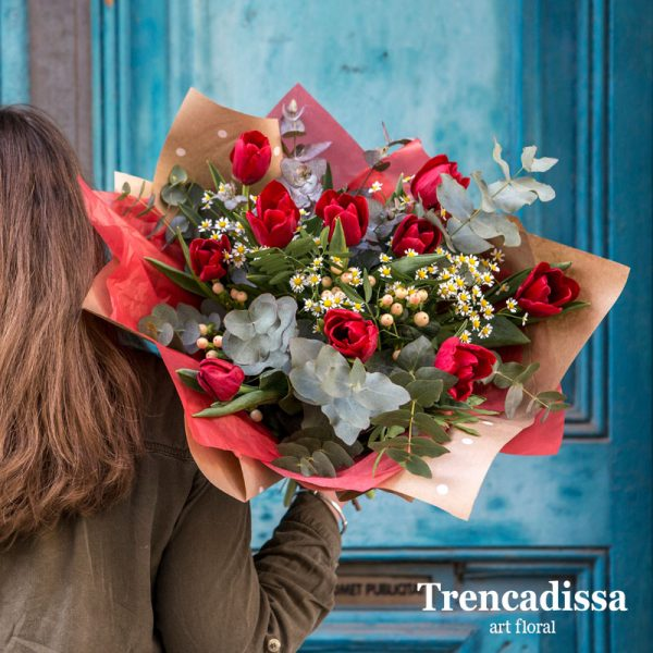 Ramo naturales de tulipanes rojos, venta online