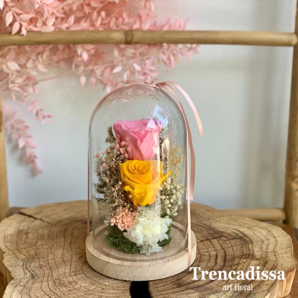 Cúpula con rosas y hortensia preservadas