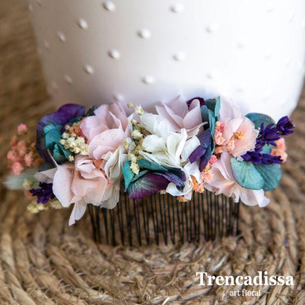 Peineta en tonos blanco, rosa, lila y turquesa