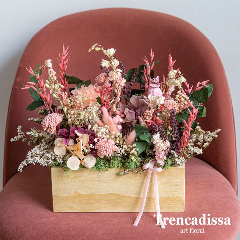 Caja de adera de tono natural, rectangular, con flor seca y preservada, venta online